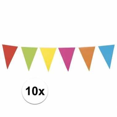 10 stuks vlaggetjes lijn in vrolijke kleuren 10 meter