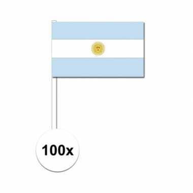 100x argentijnse fan/supporter vlaggetjes op stok