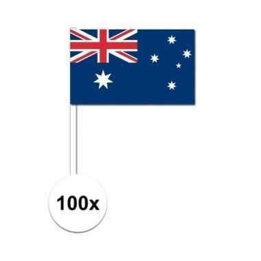100x australische fan/supporter vlaggetjes op stok