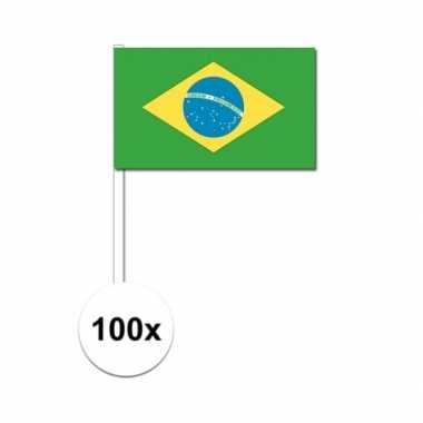 100x braziliaanse fan/supporter vlaggetjes op stok