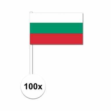 100x bulgaarse fan/supporter vlaggetjes op stok