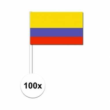 100x colombiaanse fan/supporter vlaggetjes op stok