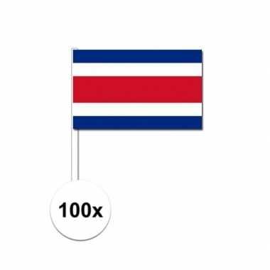 100x costa ricaanse fan/supporter vlaggetjes op stok