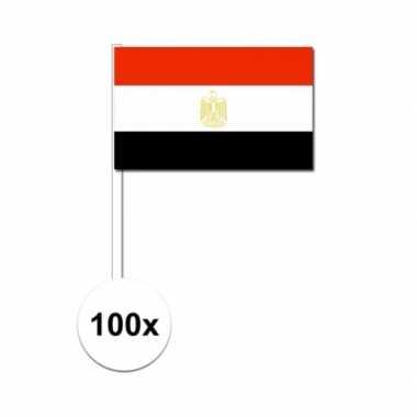 100x egyptische fan/supporter vlaggetjes op stok