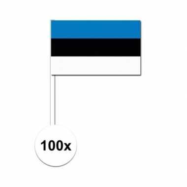 100x estlandse fan/supporter vlaggetjes op stok