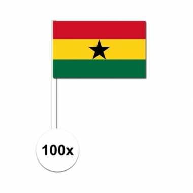 100x ghanese fan/supporter vlaggetjes op stok