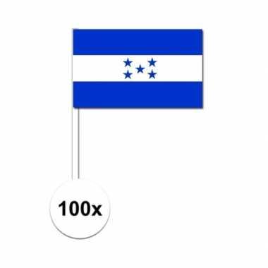 100x hondurese fan/supporter vlaggetjes op stok