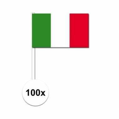 100x italiaanse fan/supporter vlaggetjes op stok