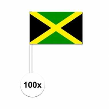 100x jamaicaanse fan/supporter vlaggetjes op stok
