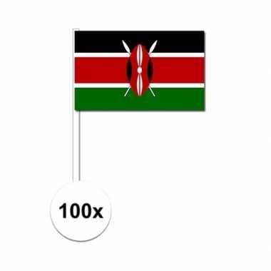 100x keniaanse fan/supporter vlaggetjes op stok