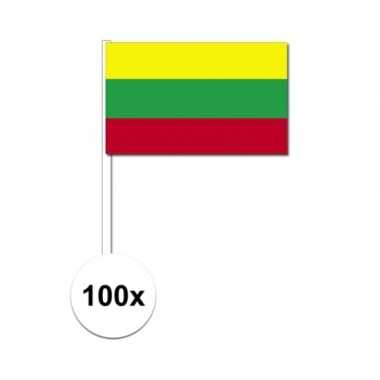 100x litouwse fan/supporter vlaggetjes op stok