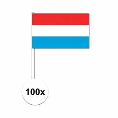 100x luxemburgse fan/supporter vlaggetjes op stok