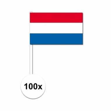 100x nederlandse fan/supporter vlaggetjes op stok