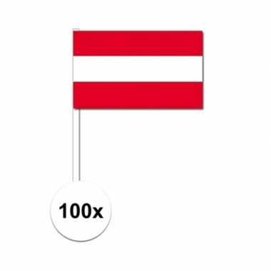 100x oostenrijkse fan/supporter vlaggetjes op stok
