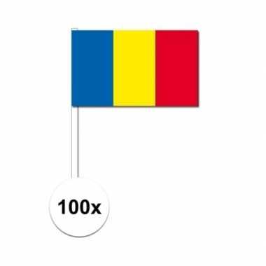 100x roemeense fan/supporter vlaggetjes op stok