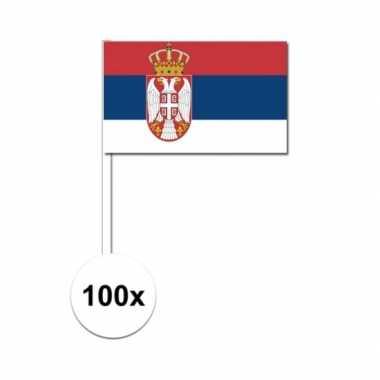 100x servische fan/supporter vlaggetjes op stok