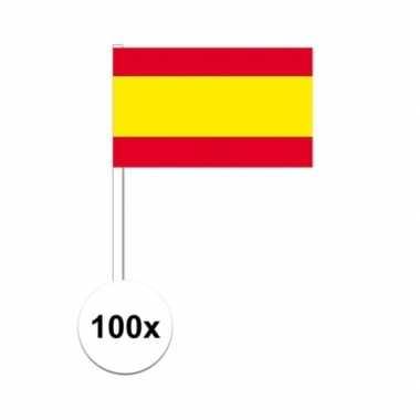 100x spaanse fan/supporter vlaggetjes op stok