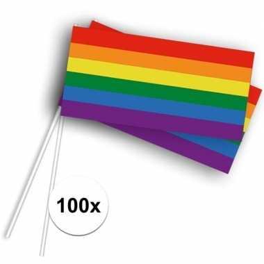 100x stokvlaggetjes met regenboog 100 stuks