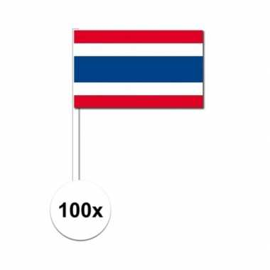 100x thaise fan/supporter vlaggetjes op stok