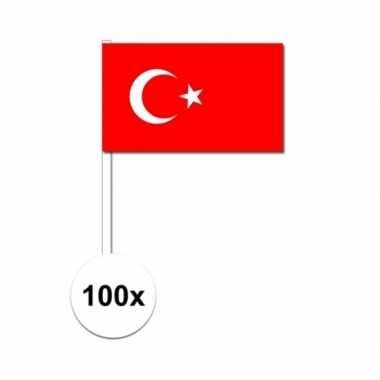 100x turkse fan/supporter vlaggetjes op stok