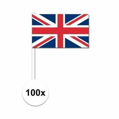 100x union jack vlaggetjes op stok