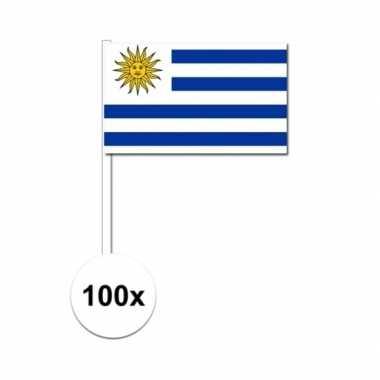 100x uruguayaanse fan/supporter vlaggetjes op stok