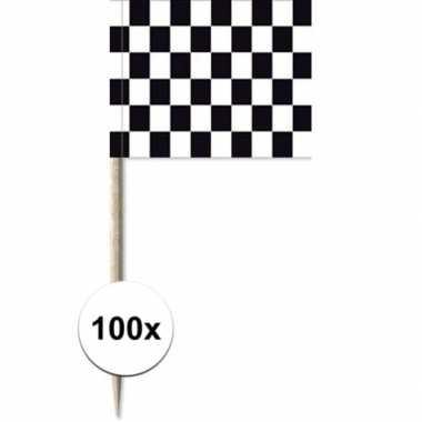 100x zwart/witte finish vlag cocktailprikkertjes/kaasprikkertjes 8 cm