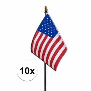 10x amerika luxe zwaaivlaggetje polyester