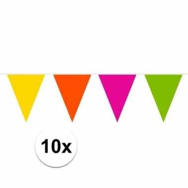 10x gekleurde slinger 10 meter