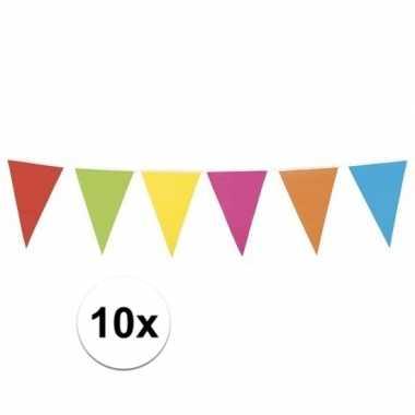 10x gekleurde vlaggenlijn xl 10 meter