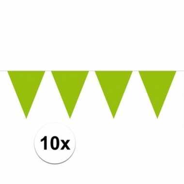 10x groene vlaggenlijnen 10 meter