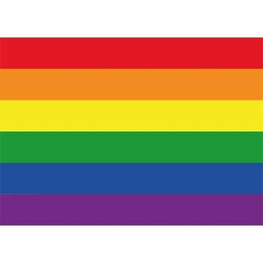 10x regenboog vlag lgbt vlag sticker 7 5 x 10 cm