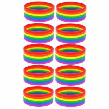 10x regenboogvlag kleuren armbandje 20 cm