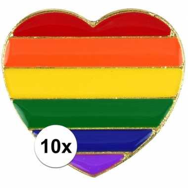 10x regenboogvlag kleuren metalen pin/broche hartje 3 cm