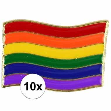 10x regenboogvlag kleuren metalen pin/button 4 cm
