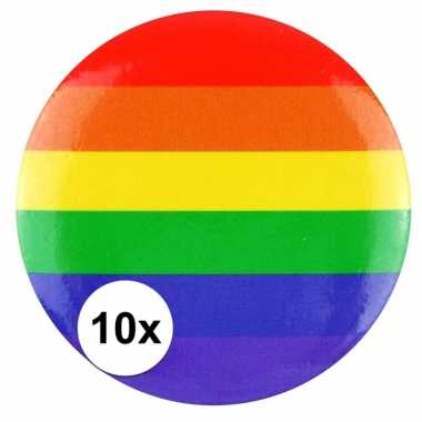 10x regenboogvlag kleuren tas broche 2 cm