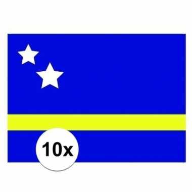 10x stuks stickers van de curacao vlag