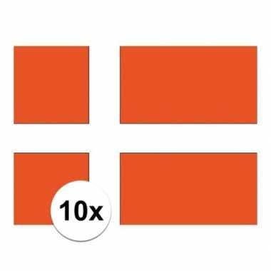 10x stuks stickers van de deense vlag