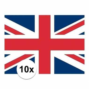10x stuks stickers van de engelse vlag
