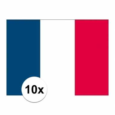 10x stuks stickers van de franse vlag