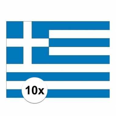 10x stuks stickers van de griekse vlag