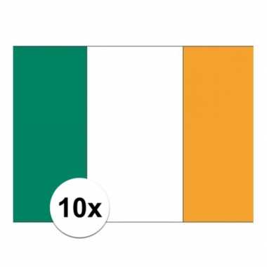 10x stuks stickers van de ierse vlag