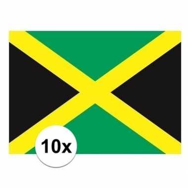 10x stuks stickers van de jamaica vlag