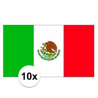 10x stuks stickers van de mexicaanse vlag