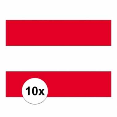 10x stuks stickers van de oostenrijkse vlag