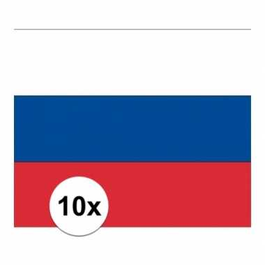 10x stuks stickers van de russische vlag