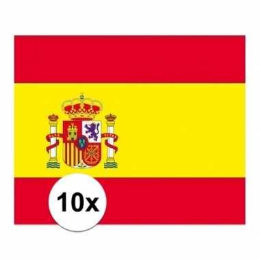10x stuks stickers van de spaanse vlag