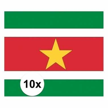 10x stuks stickers van de surinaamse vlag