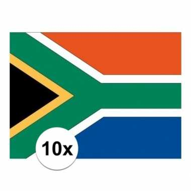 10x stuks stickers van de zuid afrikaanse vlag