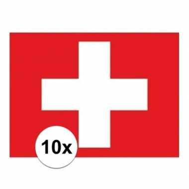 10x stuks stickers van de zwitserse vlag